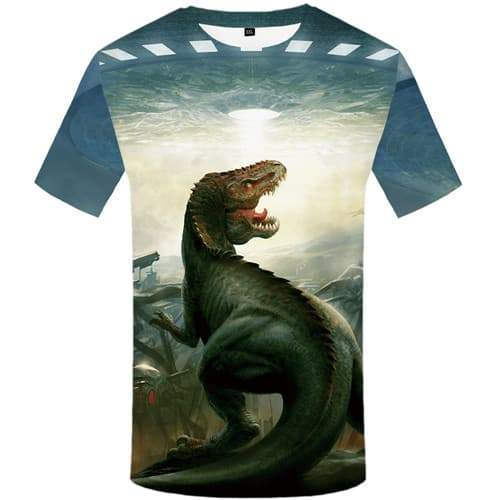 Alien T shirts Men Dinosaur Tshirts Casual Animal Tshirts Cool War Tshirt Printed Metal T-shirts 3d Short Sleeve summer Mens New - KYKU
