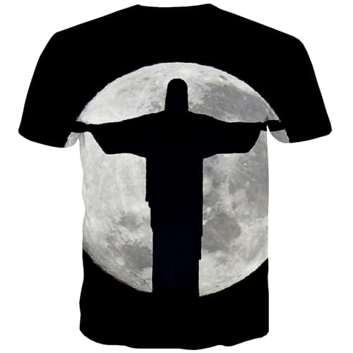 Jesus T shirts Men Moon Tshirts Cool Black T-shirts Graphic Harajuku Tshirt Printed Art T shirts Funny Short Sleeve Full Print - KYKU