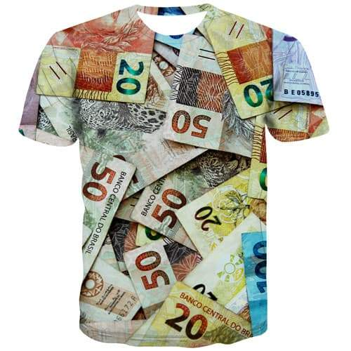 Money T shirts Men Brazil T shirts Funny Harajuku Tshirts Casual Abstract Tshirts Cool Vintage Tshirt Anime Short Sleeve - KYKU