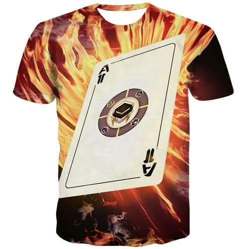 Card T shirts Men Poker Shirt Print Flame T shirts Funny Galaxy Space T-shirts Graphic Gothic T-shirts 3d Short Sleeve Hip hop - KYKU