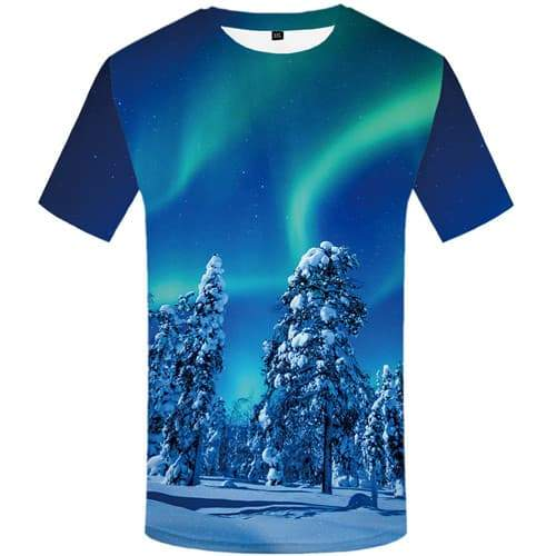 Northern Lights T shirts Men Forest Tshirts Novelty Russia Tshirt Printed Aurora Tshirts Casual Harajuku T-shirts Graphic - KYKU