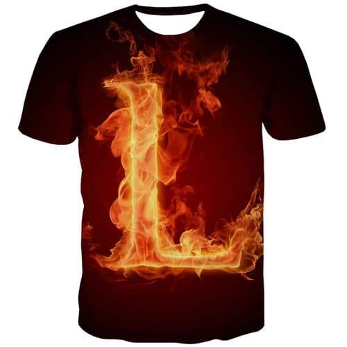 Flame T shirts Men Fire T shirts Funny Letter Tshirt Anime Harajuku T-shirts 3d Gothic T-shirts Graphic Short Sleeve Hip hop - KYKU