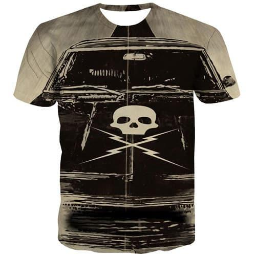 Skull T-shirt Men Military Tshirts Casual Punk Rock T shirts Funny Anime T-shirts Graphic Hip Hop Tshirts Novelty Short Sleeve - KYKU