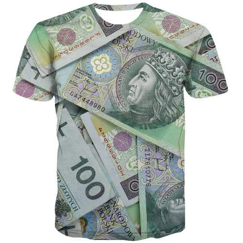 Money T-shirt Men Poland Tshirts Cool Harajuku Tshirt Printed Gothic Tshirts Casual Colorful T-shirts Graphic Short Sleeve - KYKU
