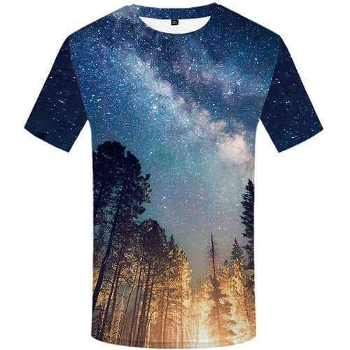 Galaxy Space T shirts Men Forest Tshirts Cool Nebula T-shirts 3d Aurora Tshirts Novelty Colorful T shirts Funny Short Sleeve - KYKU