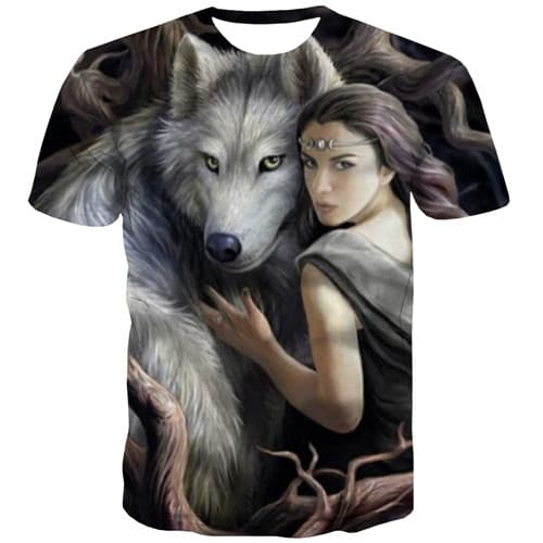 Wolf T shirts Men Character Tshirts Novelty Animal Tshirts Casual The Film T-shirts Graphic Gothic Tshirts Cool Short Sleeve - KYKU