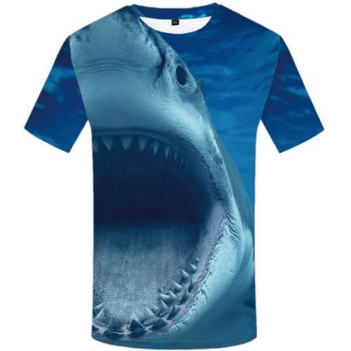 Shark T shirts Men Animal Tshirt Anime Blue T shirts Funny Gothic Tshirts Cool Angry Shirt Print Short Sleeve summer Men S-5XL - KYKU