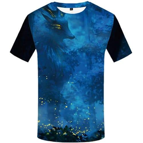 Deer T-shirt Men Forest T shirts Funny Animal Tshirt Printed Harajuku Tshirts Casual Abstract Tshirts Cool Short Sleeve Fashion - KYKU