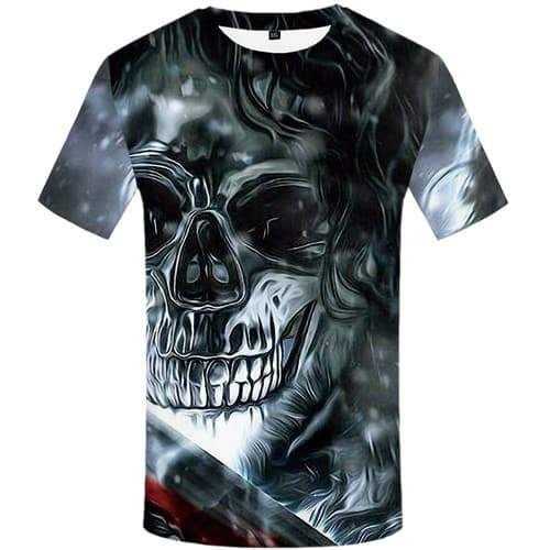 Skull T-shirt Men War Tshirts Cool Metal Tshirts Novelty Harajuku T-shirts Graphic Gothic Tshirt Printed Short Sleeve summer
