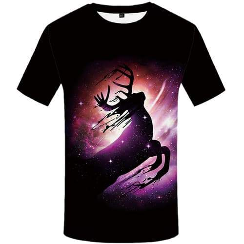 Deer T-shirt Men Animal Tshirts Cool Galaxy Space T shirts Funny Colorful Tshirt Anime Black T-shirts Graphic Short Sleeve - KYKU