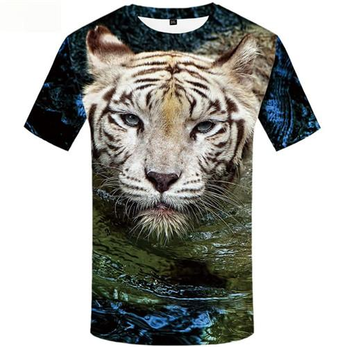 Tiger T shirts Men Water Shirt Print Animal Tshirt Anime Short Sleeve Full Print Unisex S-5XL Slim Big Size