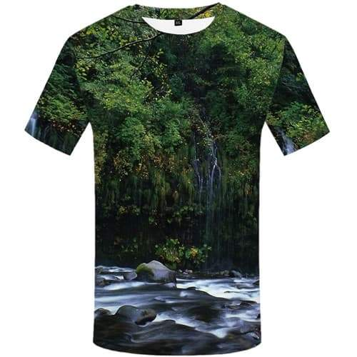 Forest T shirts Men Fish T-shirts Graphic Green T shirts Funny Tree Shirt Print Harajuku Tshirts Cool Short Sleeve T shirts
