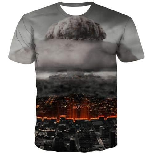 War T shirts Men Military T shirts Funny Flame Tshirts Casual City Shirt Print Mushroom Cloud T-shirts 3d Short Sleeve T shirts - KYKU