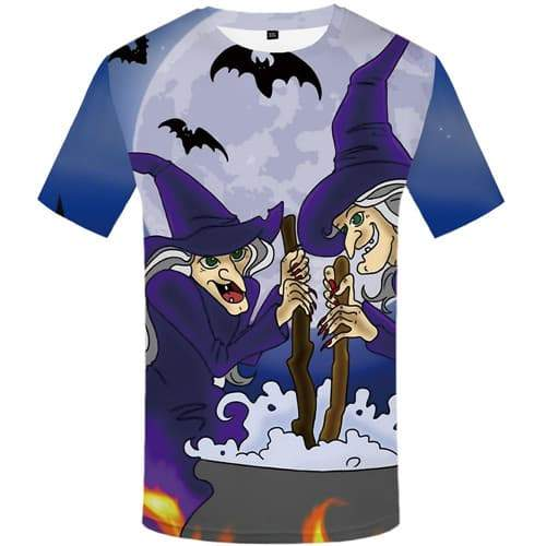 Halloween T shirts Men Witch Tshirt Anime Bat Shirt Print Moon Tshirt Printed Cosplay T-shirts 3d Short Sleeve Hip hop Mens - KYKU