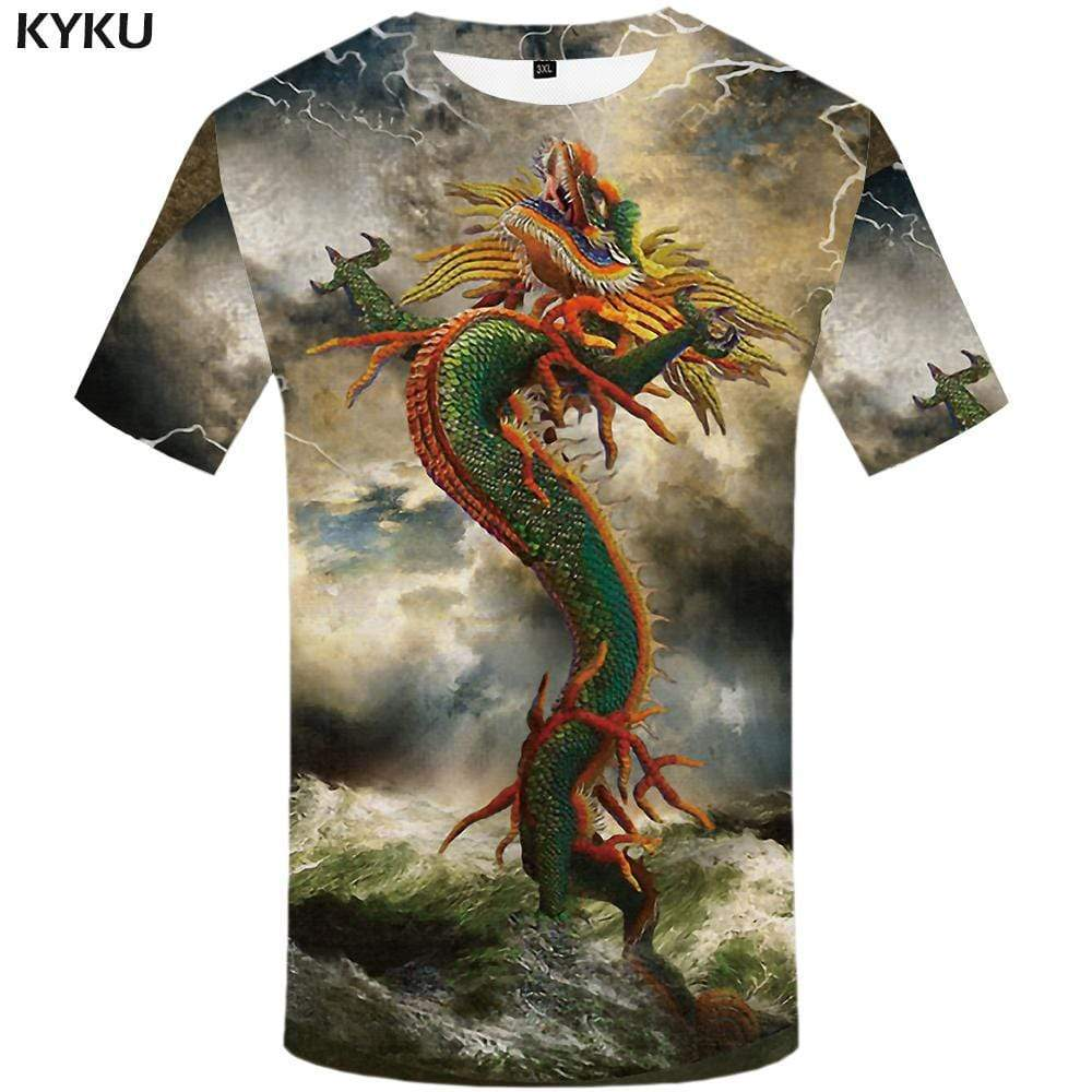 Dragon T shirt Men Animal T shirts Funny Lightning Tshirts Print Mountain Tshirt Anime Colorful T-shirt 3d Mens Clothing - KYKU