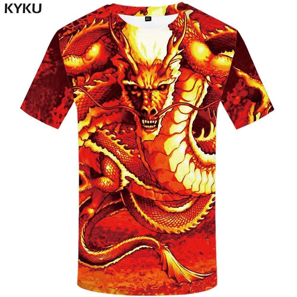 Dragon T shirt Men Animal Tshirts Print Fire T shirts Funny War T-shirt 3d Gothic Tshirt Anime Mens Fashion Casual Unisex - KYKU