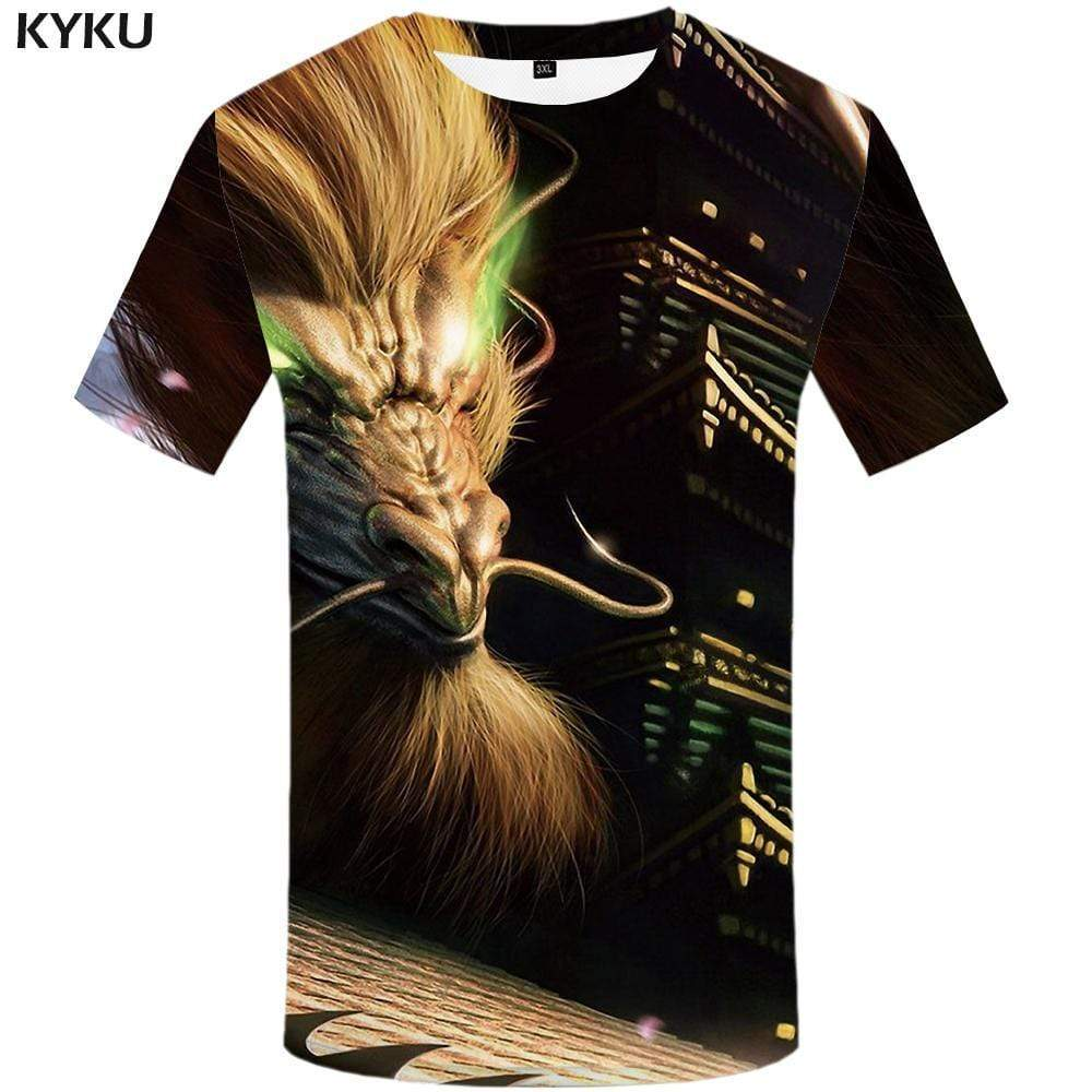 Dragon T shirt Men Animal Tshirts Print Harajuku Tshirt Anime Castle T shirts Funny T-shirt 3d Mens Fashion Hip hop Unisex - KYKU