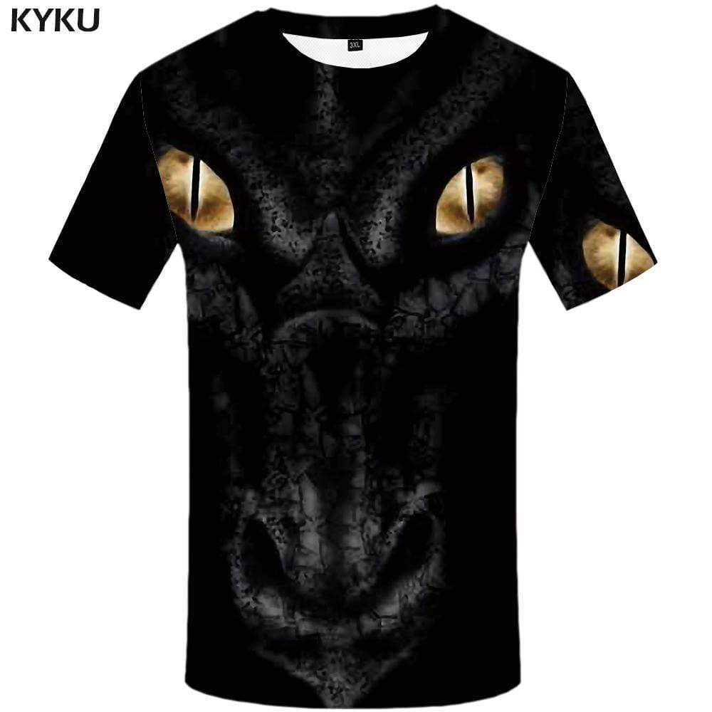 Dragon T shirt Men Black T-shirt 3d Animal T shirts Funny Eye Tshirt Anime Gothic Tshirts Print Mens Fashion Casual Unisex - KYKU
