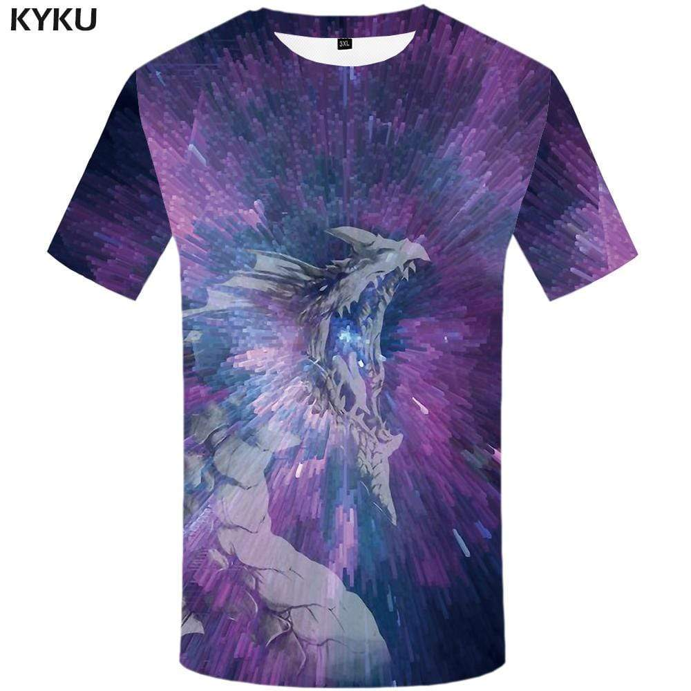 Dragon T shirt Men Space Galaxy T-shirt 3d Psychedelic Tshirt Anime Purple Tshirts Print War T shirts Funny Mens Fashion Hip hop - KYKU
