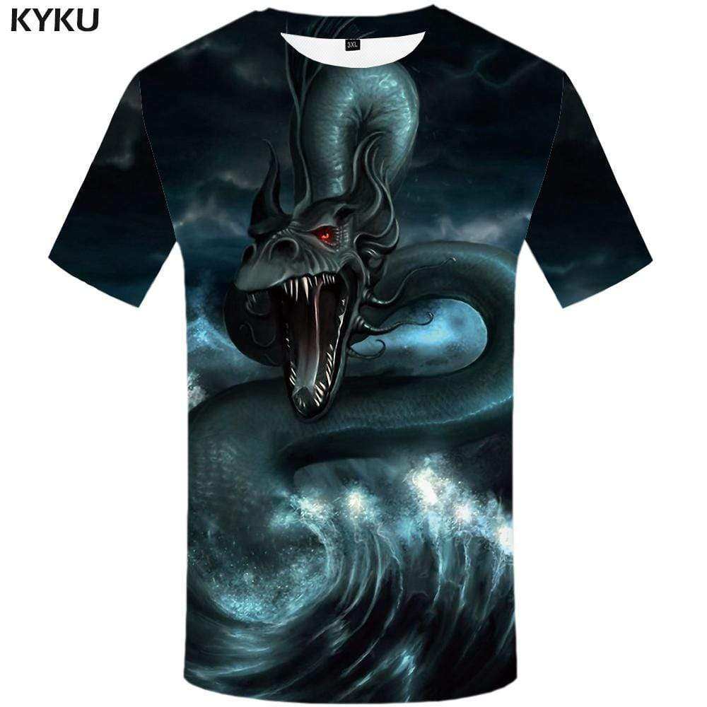 Dragon T shirt Men Wave Tshirts Print Animal Tshirt Anime Black T shirts Funny Sky T-shirt 3d Mens Clothing Short Sleeve Unisex - KYKU
