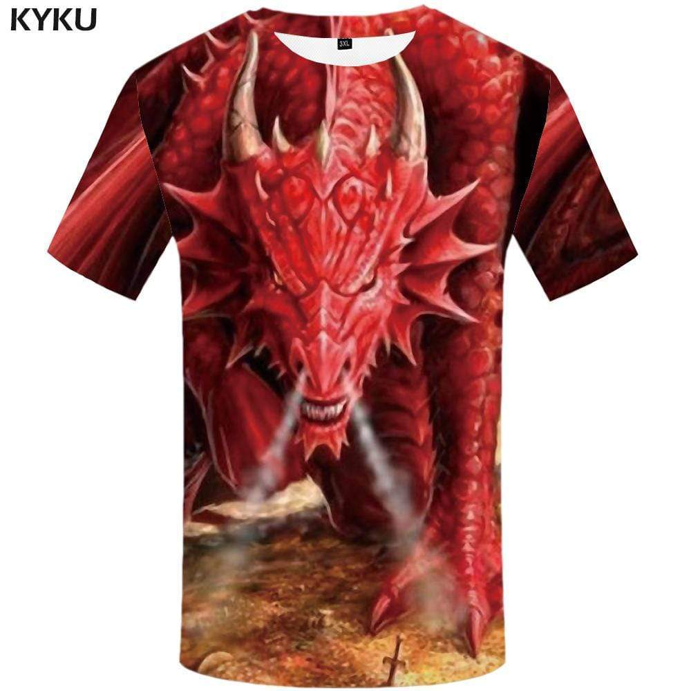 Dragon T-shirts Men Animal T-shirt 3d Angry Tshirts Print Gothic T shirts Funny War Tshirt Anime Mens Clothing Hip hop Unisex - KYKU