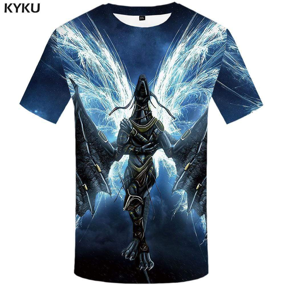 Dragon T-shirts Men Space Galaxy T shirts Funny Animal Tshirts Print War Tshirt Anime Lightning T-shirt 3d Mens Clothing Casual - KYKU