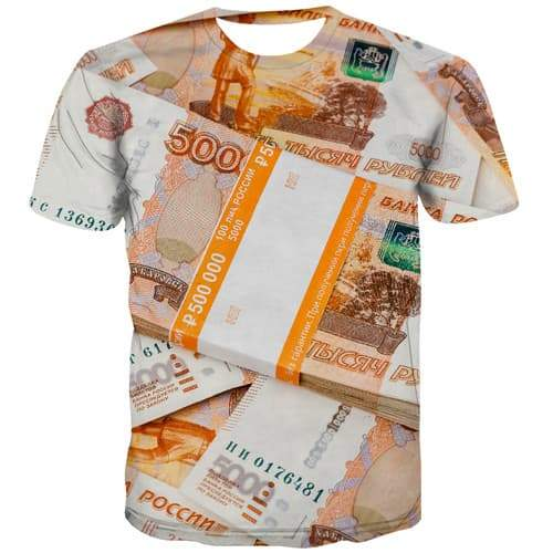 Russian Ruble T shirts Men Money T shirts Funny Russia Shirt Print Harajuku Tshirts Novelty Funny Tshirt Anime Short Sleeve - KYKU