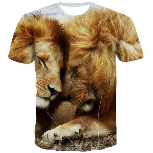 Lion T-shirt Men Animal Tshirt Anime Lovely Tshirt Printed Funny T shirts Funny Street T-shirts 3d Short Sleeve Hip hop Unisex - KYKU