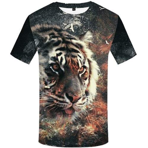 Tiger T-shirt Men Animal T-shirts Graphic Vintage Tshirts Cool Graffiti Tshirt Printed Gothic Tshirt Anime Short Sleeve Fashion - KYKU