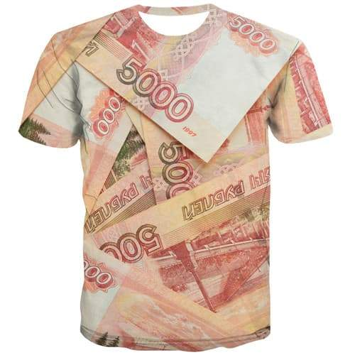 Money T-shirt Men Russian Ruble T shirts Funny Russia Tshirt Printed Abstract Tshirts Novelty Harajuku Shirt Print Short Sleeve - KYKU