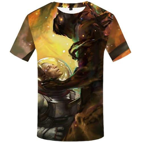 Astronaut T shirts Men War Tshirt Printed Colorful Shirt Print Graffiti Tshirt Anime Cartoon T-shirts Graphic Short Sleeve - KYKU