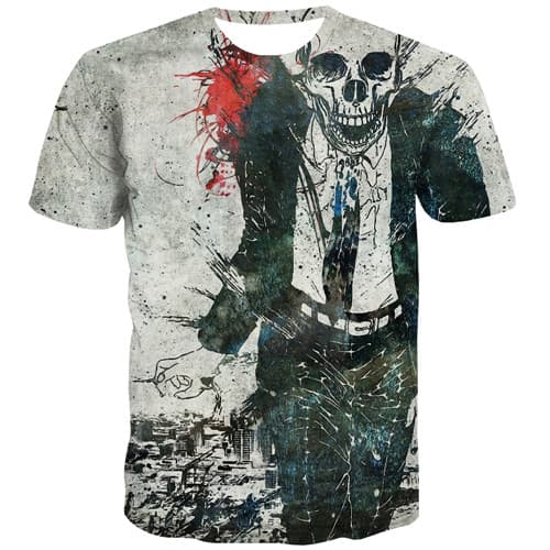 Painting T shirts Men Skull T shirts Funny Cosplay Shirt Print Punk Tshirt Printed Rock Tshirts Novelty Short Sleeve T shirts - KYKU