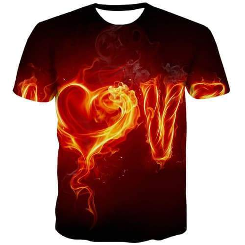 Flame T shirts Men Space Tshirts Casual Smoke Tshirts Novelty Love Tshirts Cool Gothic Shirt Print Short Sleeve summer Men New - KYKU