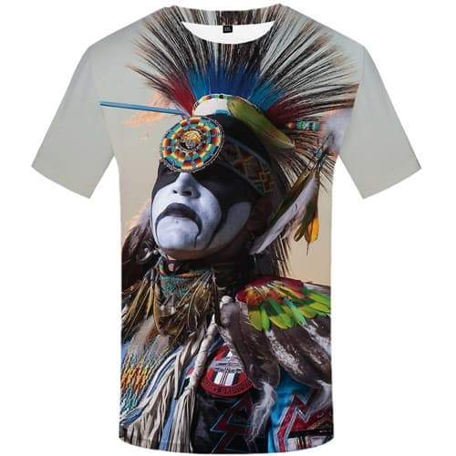 Indians T shirts Men Feather T shirts Funny Colorful Tshirts Casual Graffiti T-shirts 3d Native American Tshirts Novelty - KYKU