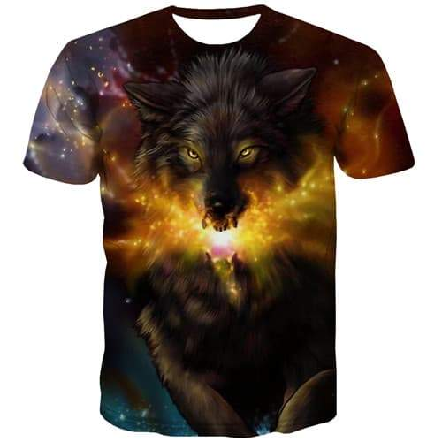 Wolf T-shirt Men Galaxy Space Shirt Print Animal T-shirts 3d Gothic Tshirts Novelty Short Sleeve Full Print Men Digital Style - KYKU