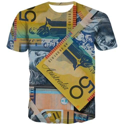 Money T-shirt Men Retro T-shirts Graphic Germany Tshirts Cool Colorful T shirts Funny Gothic T-shirts 3d Short Sleeve summer - KYKU
