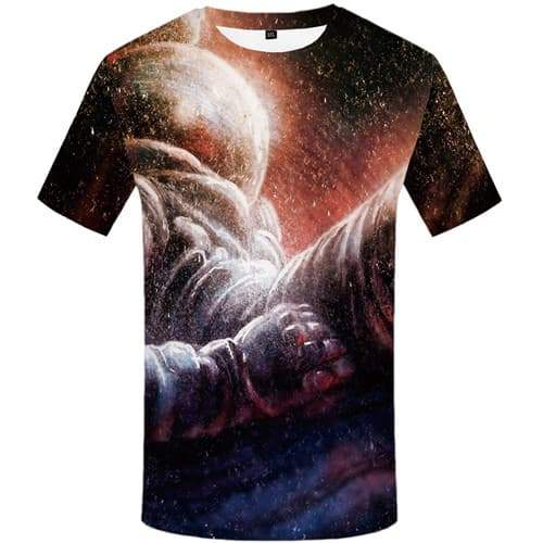 Astronaut T shirts Men Space Galaxy T shirts Funny Psychedelic Tshirt Printed Gothic Tshirts Novelty Short Sleeve T shirts Mens - KYKU