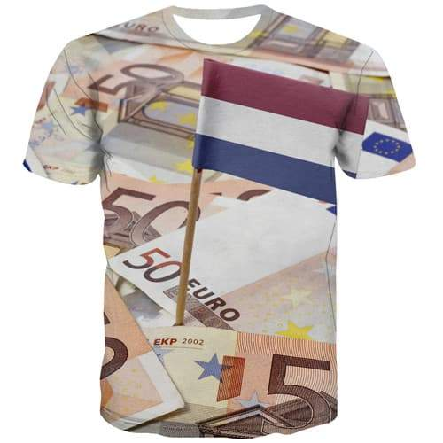 Dutch Flag T shirts Men Money Tshirt Anime Netherlands T-shirts 3d Harajuku Tshirts Casual Gothic Tshirts Novelty Short Sleeve - KYKU
