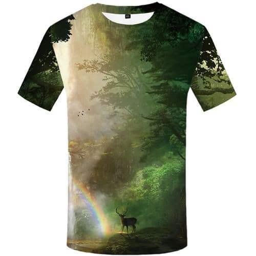 Deer T shirts Men Animal T shirts Funny Rainbow Tshirts Cool Forest Tshirt Printed Harajuku T-shirts 3d Short Sleeve summer - KYKU