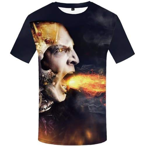 Flame T-shirt Men Skull T-shirts Graphic Metal T-shirts 3d Mechanical Tshirt Printed War T shirts Funny Short Sleeve T shirts - KYKU