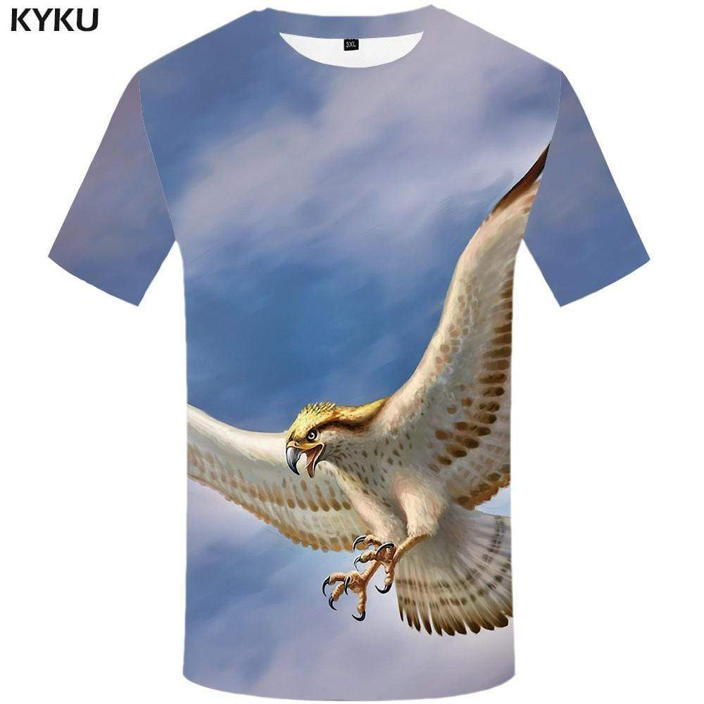 Eagle T shirt Men Animal Tshirts Print Feather T shirts Funny Sky Tshirt Anime Space T-shirt 3d Mens Fashion Short Sleeve Unisex - KYKU