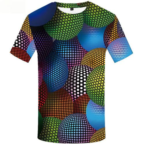 Psychedelic T shirts Men Balloon Tshirt Printed Colorful Shirt Print Gothic Tshirt Anime Short Sleeve Full Print Men New Slim