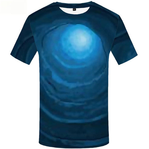 Harajuku T shirts Men Space Galaxy T-shirts Graphic Blue T-shirts 3d Vortex Tshirts Novelty Short Sleeve T shirts Unisex Tops