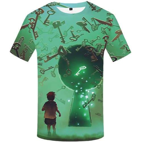 Alien T shirts Men Metal Tshirt Anime Space T shirts Funny Character Shirt Print Cartoon T-shirts Graphic Short Sleeve Hip hop - KYKU