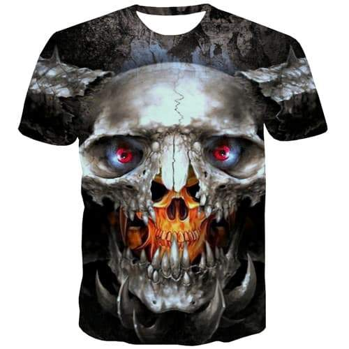 Skull T-shirt Men Skeleton T-shirts Graphic Flame Tshirts Novelty Punk Tshirts Casual Gothic T-shirts 3d Short Sleeve Hip hop - KYKU