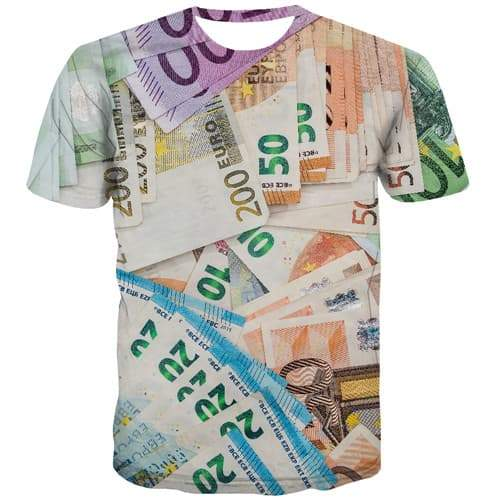 Money T-shirt Men Russian Ruble Tshirt Anime Abstract T shirts Funny Geometric Tshirt Printed Harajuku T-shirts 3d Short Sleeve - KYKU