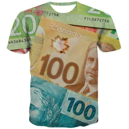 Money T-shirt Men Canadian Dollar T shirts Funny Canada Tshirt Printed Flower Tshirts Novelty Harajuku Tshirts Casual - KYKU