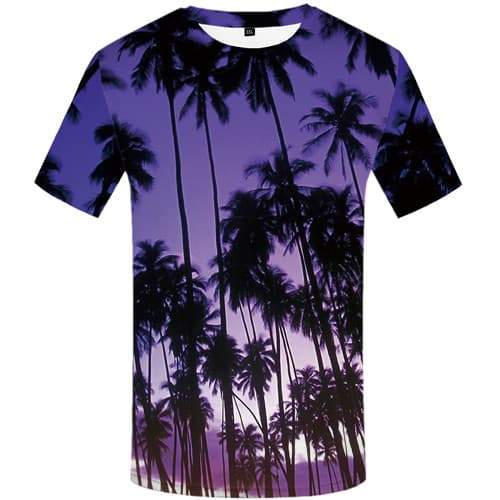 Coconut Tree T-shirt Men Harajuku Tshirt Printed Leaf Tshirt Anime Purple T-shirts Graphic Rock Shirt Print Short Sleeve - KYKU