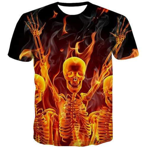 Skull T shirts Men Skeleton Shirt Print Flame Tshirts Novelty Punk Tshirt Anime Black Tshirt Printed Short Sleeve Punk Rock - KYKU