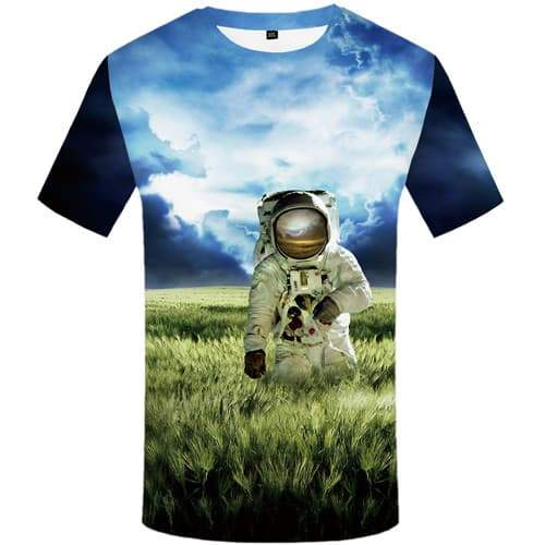 Astronaut T shirts Men Space Tshirt Anime Cloud Tshirts Casual Metal T-shirts Graphic Weed Shirt Print Short Sleeve Full Print - KYKU